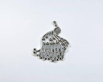 BR933 - 1 large charm in silver metal Peacock