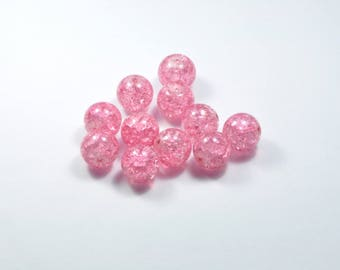 PE358 - Set of 10 Crackle glass beads pink 12mm