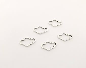 10 spacer clouds 15x9mm silver jewelry designs