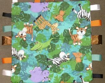 Jungle Animal Baby Tag Blankie