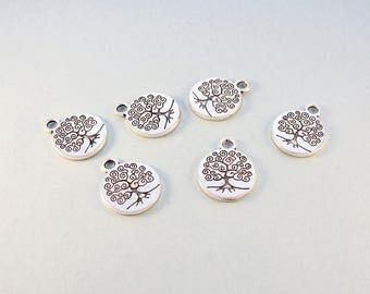 Tree of life charms / 6 pcs silver plated charms / double sided tree charms