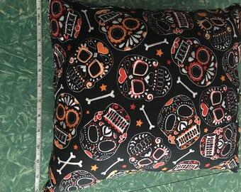 Sugar skull print throw pillow