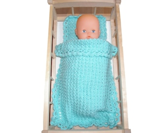 Water green cover and pillow for doll