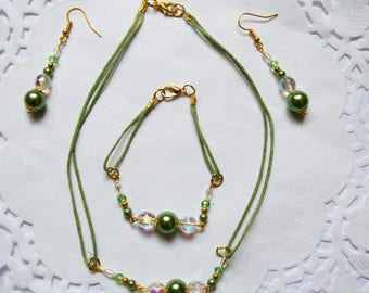 set necklace bracelet earrings green and gold