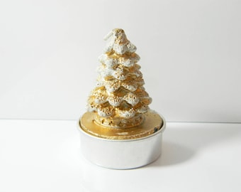 White and gold Christmas tree candle