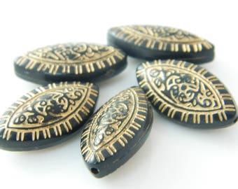 olive black pearls - gold 23mm x 5 (l157)