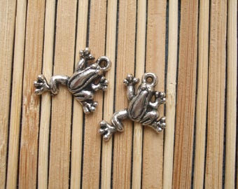 2 silver metal frog charms