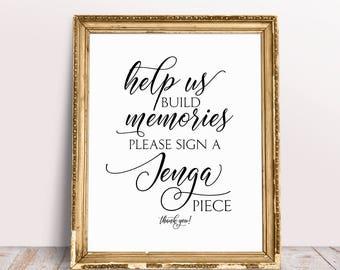Help Us Build Memories, Please Sign A Jenga Piece, Jenga Guest Book Sign, Jenga Wedding Sign, Jenga Sign, Jenga Blocks, Wedding Jenga Print