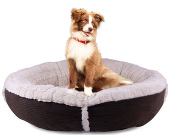 Cozy Corduroy Cuddler Pet Bed for Dogs & Cats by Cozy Cuddlerz-Round, Deluxe, Ultra Soft Bed-Available In 4 Beautiful Colors