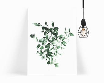 Nordic Style Print, Tropical Leaf Poster, Leaf Wall Art Print for Scandinavian Decor, Modern Minimalist Poster Print - INSTANT DOWNLOAD