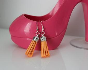 Orange suede tassel earrings