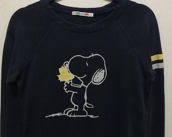 Rare!!! Snoopy Sweatshirt Pullover Big Picture Spellout Multicolors Striped