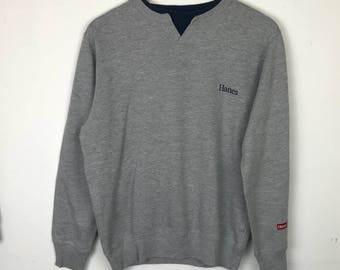 Rare!!! Vintage!!! Hanes Sweatshirt Pullover Spellout Small Logo Embroidery Jumper Multicolors