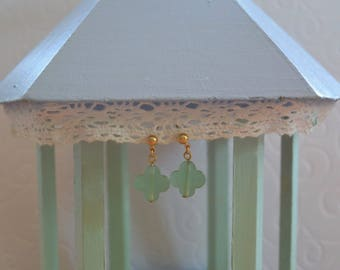 Sea green clover earrings and gold