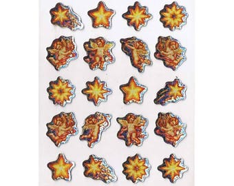 """""""Angels and stars"""" hologram Stickers 20 silver round sparkly silver glitter"""