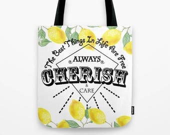 Cherish, Tote Bag, Yellow Lemon, Colorful, Summer Bag