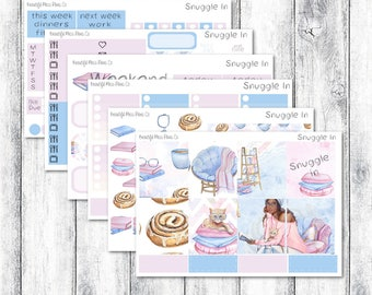 Snuggle In // Erin Condren Horizontal // Weekly Sticker Kit