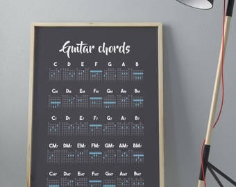 GUITAR CHORDS POSTER • Printable Wall Art •  Poster High Quality •