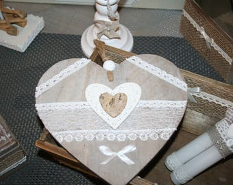 heart hanging wooden country lace