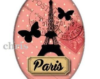 Paris, butterflies, 18x25mm cabochon