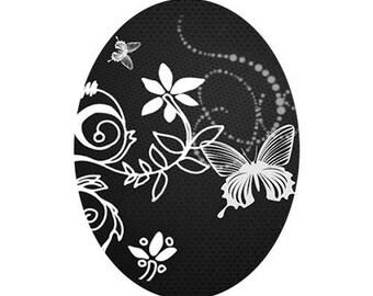 30x40mm flowers white background etpapillon black
