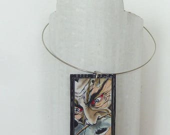 Cardboard comic strip, Samurai rectangular pendant