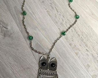 Antique silver OWL necklace and green beads
