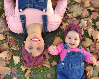 maroon mommy and me turban- mommy and daughter turban-hospital hat-hat with bow-matching outfits- fucsia hat-turban headband-turban for tots