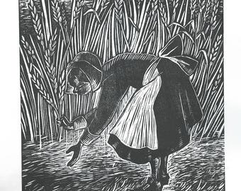 Little Red Witch Picking Rye