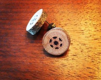 American Beech Rustic Stud Wooden Earrings, Soccer Ball