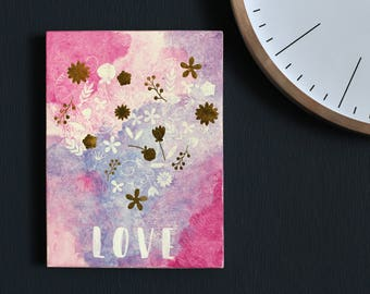 """Watercolor painting """"Love"""" - small picture - love watercolor"""