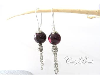 Stud Earrings, silver and Red