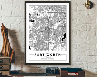 Fort Worth, Texas, City map, Poster, Printable, Print, Street map, Wall art