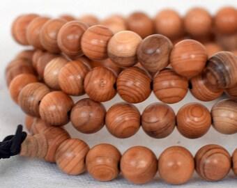 Natural Taxus Round Wood Beads - 108 beads - Mala Prayer Beads - 6mm, 8mm