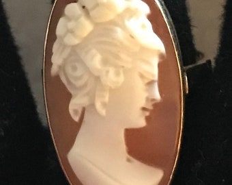 Vintage 14K Shell Cameo Ring