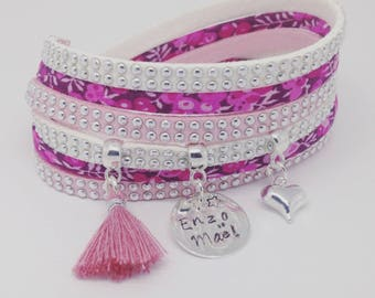 Personalized Bracelet multi strand fuchsia with personalized engraving by Palilo Liberty