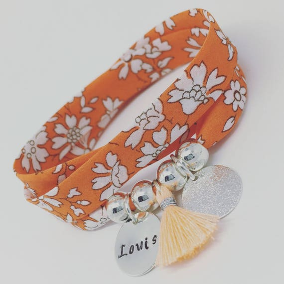 LIBERTY CAPEL ★ ORANGE ★ GriGri XL Liberty Orange with custom engraving and tassel by Palilo Personalized Bracelet
