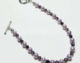 Lavender Amethyst Pearl Crystal Wedding Bridal Bracelet