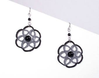 Black and grey rose lace earrings