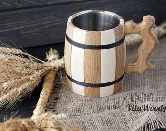 Personalized Beer Mug - Handmade Wooden Beer Mug - Wooden Tankard - Personalized Groomsmen Gift