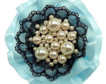Brooch large round light blue satin lace imitation cultured black pearls