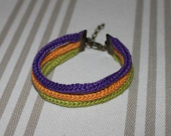 Knitted cotton 3 rows of purple, orange, green and metal bracelet bronze