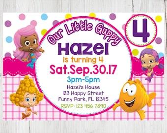 SUPER SALE -80%: Bubble Guppies Instant Download Invitation, Bubble Guppies Invitation, Bubble Guppies Party, Bubble Guppies Birthday Invite