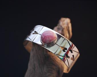 "Bracelet silver rhodocrosite handcrafted and original ""Argentina round"""
