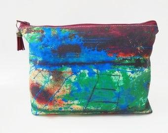 Dumpy Wash bag, Rusty art bag, green wash bag, cosmetic bag, zip bag, make up bag.