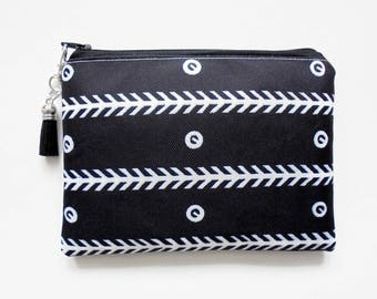 Travel Pouch, Monochrome,  Vintage Inspired, small zipper bag, travel bag, wallet pouch.