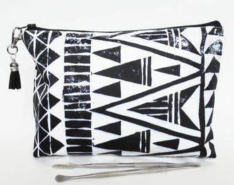 Gifts for her, Wash bag, aztec, tribal, monochrome, arrows, geo mix, travel bag, cosmetic bag, zip bag, make up bag, cosmetic pouch.