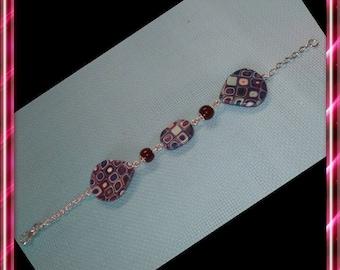Shades of blue and Burgundy polymer bracelet