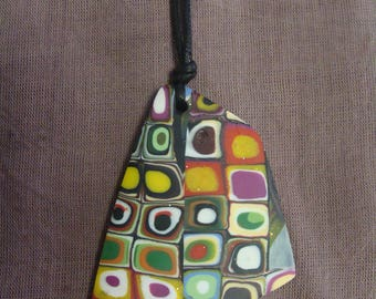 Pendant necklace multicolor double-sided