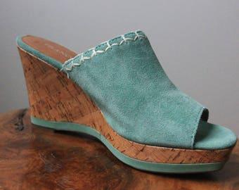 Turquosie wedge sandals size 7